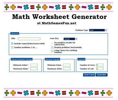 Mathworksheetgenerator